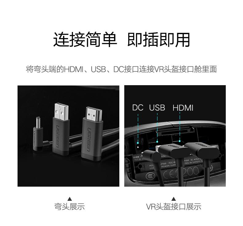 绿联VR连接线,HTC ViVe虚拟现实设备数据线