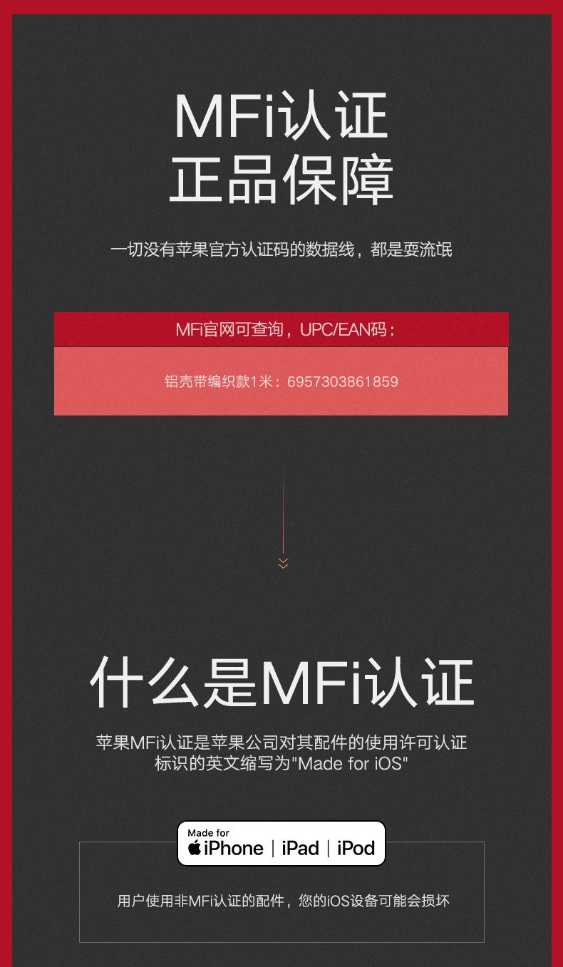 绿联奢华款正品MFi认证苹果数据线